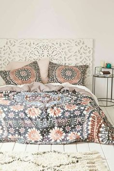 Magical Thinking Moroccan Tile Duvet Cover - a gorgeous addition to a boho themed bedroom. I love the muted colors in the pattern, as you can see they go well with a cream decor to create a calm and restful bedroom theme. Decoration Inspiration, Room Inspiration, Decor Ideas, Decorating Ideas, Bedding Inspiration, Decor Diy, Room Decorations, Dream Bedroom, Home Bedroom