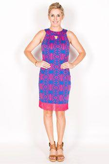 Claire Keyhole Shift Dress-Pink