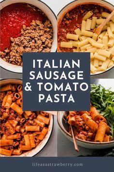 Tomato Pasta Recipe, Spicy Pasta, Pasta Recipes, Cajun Sausage, Italian Sausage Pasta, Quick Easy Meals, Easy Dinner Recipes, One Pot Pasta, Pasta Noodles