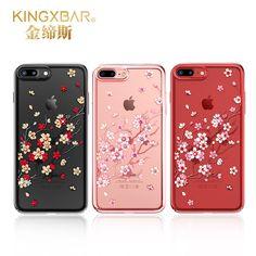 Cover with Rhinestones Original Kingxbar Cover For iPhone 7 7 Plus Sakura Style TPU Crystal From Swarovski For iPhone 7 Plus