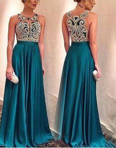 Special Illusion Appliques Prom Dress-Long Satin Evening Dress