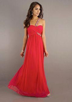 One-Shoulder-Träger Rote Abendkleidung Lang