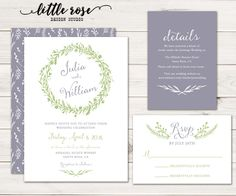 Wedding Invitation Set - Printable (see below for ordering prints) Lilac Grey & Green This fresh and simple design features a hand-drawn floral