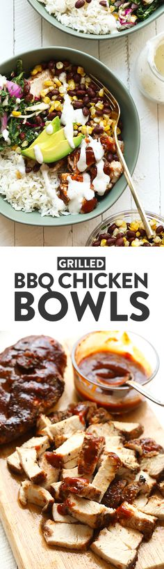 These bbq chicken bowls are perfect for a healthy week night meal or great for meal prep throughout the week!