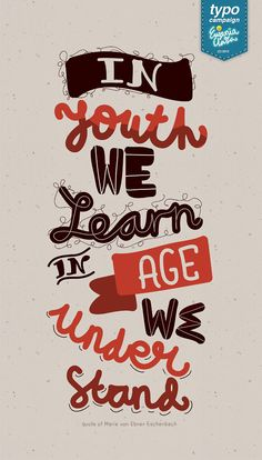 """""""In youth we learn, In age we understand."""""""