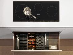 Dada Smoked Oak Drawers and Containers Accesories. Spices and Seasoning Drawer | Italian Design