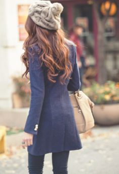Navy coat + Navy tights. Bone handbag.|    it appears to me, my hats will be doing a come back this winter