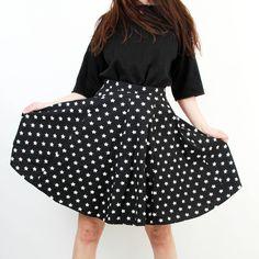 Stars Print Skirt / Printed Skirt / Knee Length Skirt / Full Skirt / Casual Skirt / High Waist Skirt / Small / Medium by Ramaci on Etsy