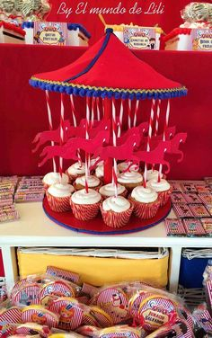 Carousel of cupcakes at a circus birthday party! See more party ideas at CatchMyParty.com!