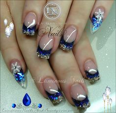Luminous Nails: Blue Gold Nails with Snow Flakes.prolly do square pinkies too Blue Gold Nails, Royal Blue Nails, Red Nails, Gold Glitter, French Nails, Cute Nails, Pretty Nails, Luminous Nails, Golden Nails