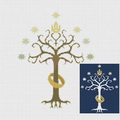 LOTR Tree of Gondor Cross stitch pattern Lord of the rings