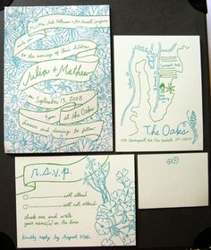Julia Rothman's Modern Illustrated Letterpress Wedding Invitations via Oh So Beautiful Paper: http://ohsobeautifulpaper.com/2008/10/real-invitations-julia-rothman/ | Design + Photo: Julia Rothman | Letterpress Printing: Soho Letterpress #handlettered #illustrated #letterpress #wedding