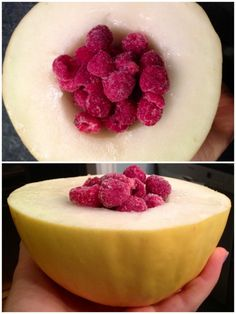 1/3 of a canary melon with frozen raspberries… the best way to eat melon is straight out of the rind with a spoon :)