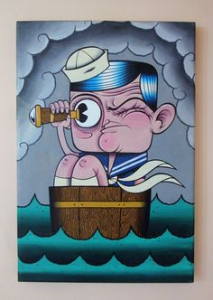 Funny Little Sailor Neo Traditional Acrylic Painting by Debbie