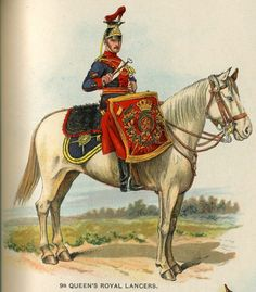 Queen's Royal Lancers, Kettledrummer, from Bands of the British Army by W. Gordon and illustrated by F.