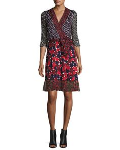 Nieves Wrap Dress, Pirouette Dot Navy/Montage Rubiate by Diane von Furstenberg at Neiman Marcus. Navy Chiffon Dress, Sheer Chiffon, Navy Dress, Dot Dress, Sleeveless Jacket, Jacket Dress, Casual Dresses, Dresses For Work, Dresses With Sleeves