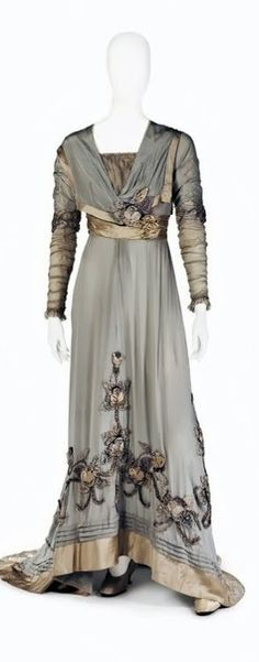 Circa 1910 bright blue-gray silk chiffon dress via Royal Armory and Hallwyl Museum.