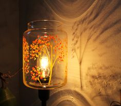 Autumn Trees - Upcycled Table Top Lamp - Metal and Vintage Glass Lighting Fixture -