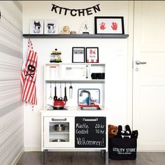 The pirate apron. The whistling kettle. The superhero dog pictures. This one is about a scattering of perfect accessories and space to play. Kitchen and photo by Wiiks Kreativa.