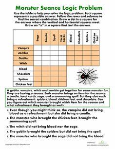 Halloween Fourth Grade Puzzles & Sudoku Worksheets: Monster Seance Logic Problem Halloween Worksheets, Halloween Math, Worksheets For Kids, Seasons Worksheets, Halloween Activities, Holiday Activities, Math Logic Puzzles, Logic Games, Math Games