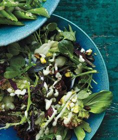 Vegetarian: Spring Lettuces With Avocado Dressing and Pistachios recipe
