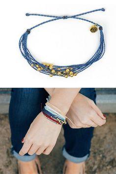 Stacking Pura Vida Bracelets gives an effortless bohemian look.