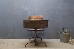 Vintage French Atelier School Desk