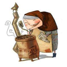 La castanyera de la porxada de Àngel Daban..l.lustració Pin.