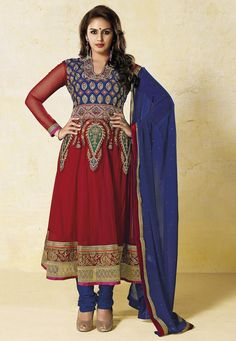 Red Net Anarkali Churidar Kameez: KGB2477
