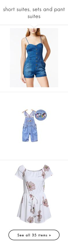 """""""short suites, sets and pant suites"""" by thesassystewart on Polyvore featuring jumpsuits, rompers, denim, denim rompers, denim romper, playsuit romper, blue romper, blue rompers, blue bib overalls and blue overalls"""