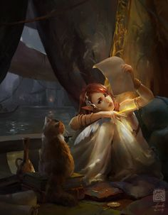 ArtStation - The Elf Poet and Cat, Kan Liu(666K信譞)