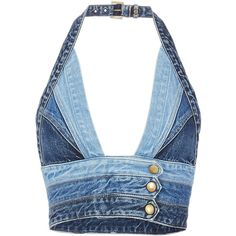 This denim halter top features a plunging neckline and triple snap buttons at its cropped waist. Buckle closure at back neck. In blue denim. Denim Crop Top, Blue Crop Tops, Halter Tops, Halter Neck, Diy Halter Top, Denim Fashion, Fashion Outfits, Fashion Ideas, Fashion Trends