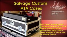Black Tweed wrapped pedalboard with tube echo slot on the top with one input and two outputs sits on top of a Black Tweed wrapped ATA case only by Salvage Custom.  In our site we have more interesting varieties of the cases.You can check it out and I hope you like it.