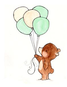 Balloon Bear 8x10 Nursery Art por ohhellodear en Etsy