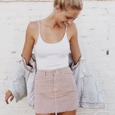 be07dce528d Brandy Melville Powder Pink Corduroy skirt 💗 Brand new nwot Size S but  would fit 24