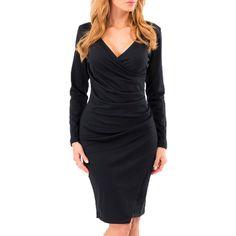 4d8b4d93e76 Women Solid Collar V-Neck Long Sleeve Mini Slim Black Dress