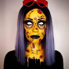 🍕 Pizza Grime 🍕 - halloween makeup - Halloween MakeUp and Kostume Pop Art Makeup, Face Paint Makeup, Sfx Makeup, Body Makeup, Costume Makeup, Crazy Makeup, Halloween Tags, Halloween Make Up, Halloween Ideas