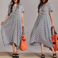 2-color Loose Fitting Maxi Dress - Spring, Autumn  Dress Cotton dress Linen skirt  Stripe mosaic skirt for Woman C224