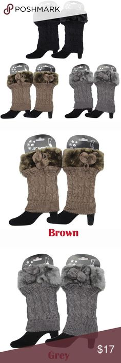 "3 Pairs*Faux Fur Trim Boot Cuffs Socks Leg Warmers Material: 100% acrylic Dimensions: 8"" height x 6"" width / 20.3 x 15.2 cm Cable knit pattern with knotted pom pom accent. Classic in stretchy knit, with a faux fur trim at the opening for a trendy touch. This season's stylish way to stay warm and look great while you do! Accessories Hosiery & Socks"