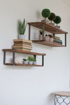 Recycled Wood and Metal Floating Shelves, Set of 2