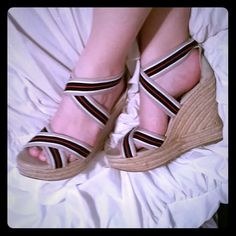 Sale! MIA strappy wedge heels NEW beige, red, and blue stripped strappy wedge MIA sandals. Never worn outside of the store and Super cute! I love these heels but I just have too many as it is and I'm trying to downsize. Sell to a good home! MIA Shoes Heels