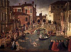 Miracolo della Croce caduta nel canale di San Lorenzo AutoreGentile Bellini Data1500 Tecnicatempera su tela Dimensioni323 cm × 430 cm  UbicazioneGallerie dell'Accademia, Venezia
