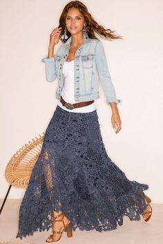 Lace Boho Maxi Skirt Boho maxi skirt made of lace Maxi Skirt Boho, Bohemian Skirt, Womens Maxi Skirts, Boho Skirts, Bohemian Style, Lace Skirt Outfits, Dress Lace, Jean Skirts, Denim Skirts