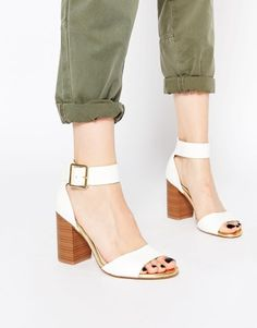 New Look Pour White Block Heeled Sandals at asos.com