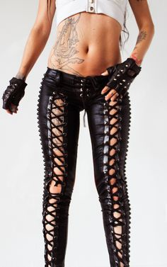 TOXIC VISION studded Baphomet lace up pants