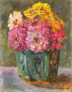 """""""Still Life with Zinnias in a Ginger Pot"""" 1910, by Floris Verster (1861 - 1927)."""