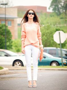 Look of the day : peach & white (by Veronica  P) http://lookbook.nu/look/3555857-Look-of-the-day-peach-white