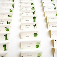 Escort cards. Fruit and veggies to correspond to fruit or vegetable on the table.