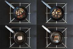 Come cucinare un filetto di branzino in padella perfettamente cotto e scioglievole, come cucinare dei funghi interi e lasciarli croccanti e saporitissimi...