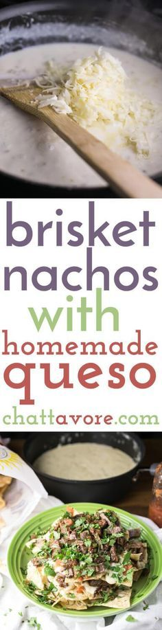 I can't think of a better way to use up leftover brisket than these brisket nachos. With homemade queso, they're easy and fabulously tasty. Homemade Queso Recipe, Homemade Tortilla Chips, Tasty Recipe, Mexican Food Recipes, Beef Recipes, Cooking Recipes, Ethnic Recipes, Nacho Recipes, Appetizers